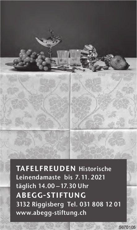 Tafelfreuden Historische Leinendamaste bis 7. 11. 2021, Abegg Stiftung, Riggisberg
