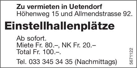 Einstellhallenplätze, Uetendorf, zu vermieten