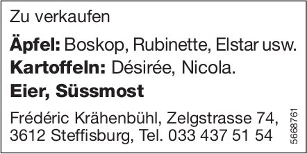 Frederic Krähenbühl, Steffisburg - Äpfel, Kartoffeln,  Eier & Süssmost zu verkaufen