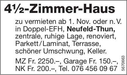 4½-Zimmer-Haus, Neufeld-Thun, zu vermieten
