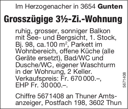 Grosszügige 3½-Zi.-Wohnung, Gunten, zu verkaufen