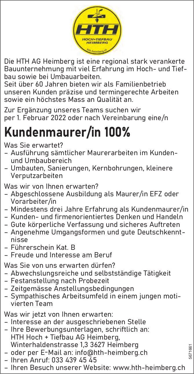 Kundenmaurer/in 100%, HTH AG, Heimberg, gesucht