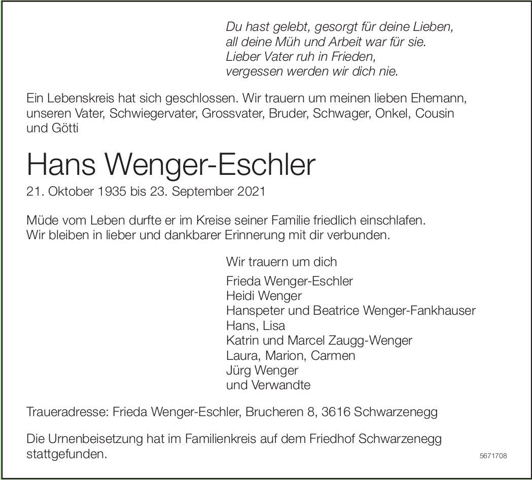Wenger-Eschler Hans, September 2021 / TA