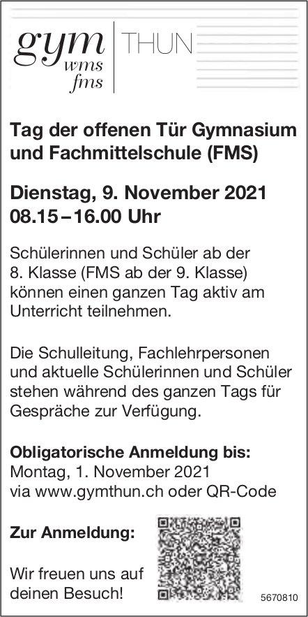 Tag der offenen Tür Gymnasium und Fachmittelschule (FMS), 9. November, Thun