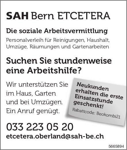 SAH Bern Etcetera - Suchen Sie stundenweise eine Arbeitshilfe?