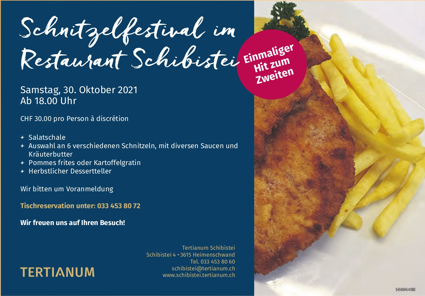 Schnitzelfestival im Restaurant Schibistei, 30. Oktober, Tertianum Schibistei, Heimenschwand