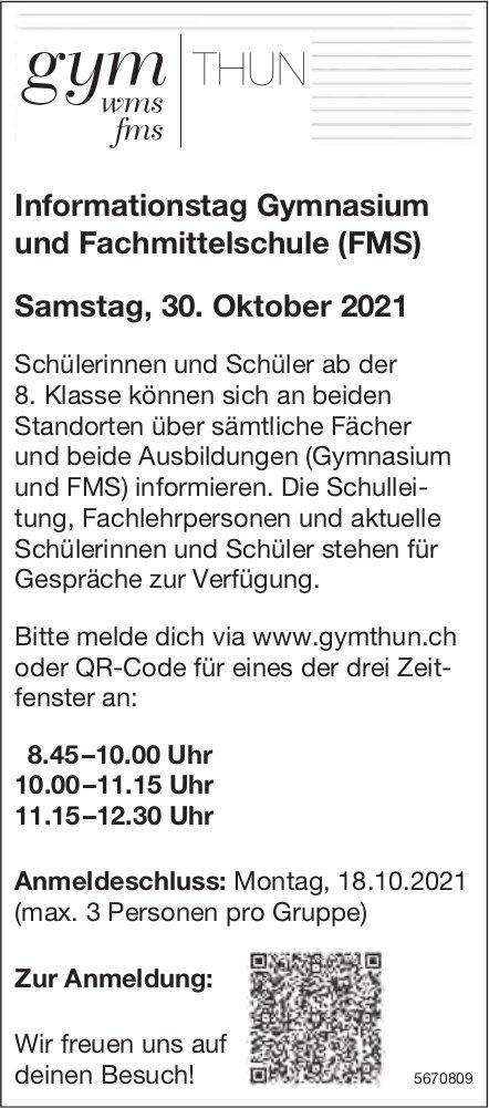 Informationstag Gymnasium und Fachmittelschule (FMS), 30. Oktober, Thun