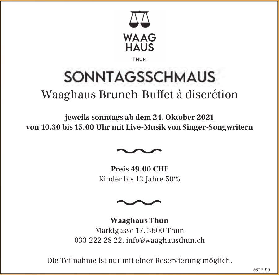 Sonntagsschmaus, Waaghaus Brunch-Buffet à discrétion, 24. Oktober, Waaghaus Thun