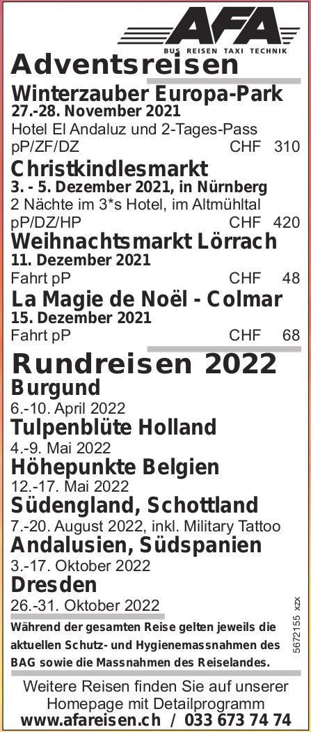 Reiseprogramm, 27. November 2021 - 31. Oktober 2022, AFA Reisen