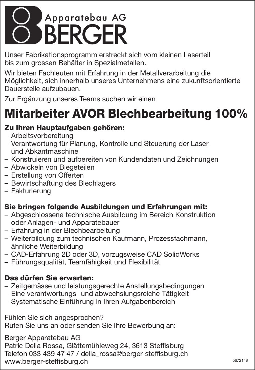Mitarbeiter AVOR Blechbearbeitung 100%, Berger Apparatebau AG, Steffisburg, gesucht