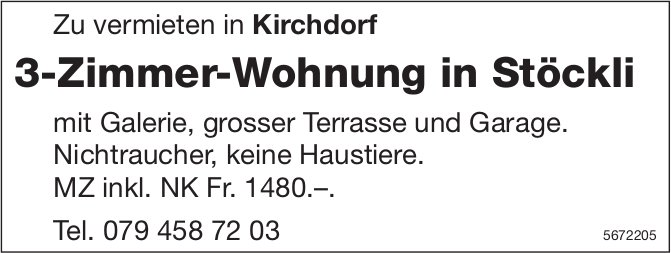3-Zimmer-Wohnung in Stöckli, Kirchdorf, zu vermieten