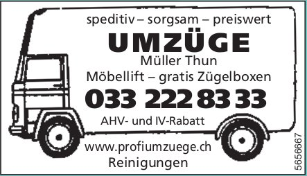 Umzüge Müller, Thun - Speditiv, sorgsam, preiswert