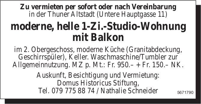 Moderne, helle 1-Zi.-Studio-Wohnung mit Balkon, Thun, zu vermieten