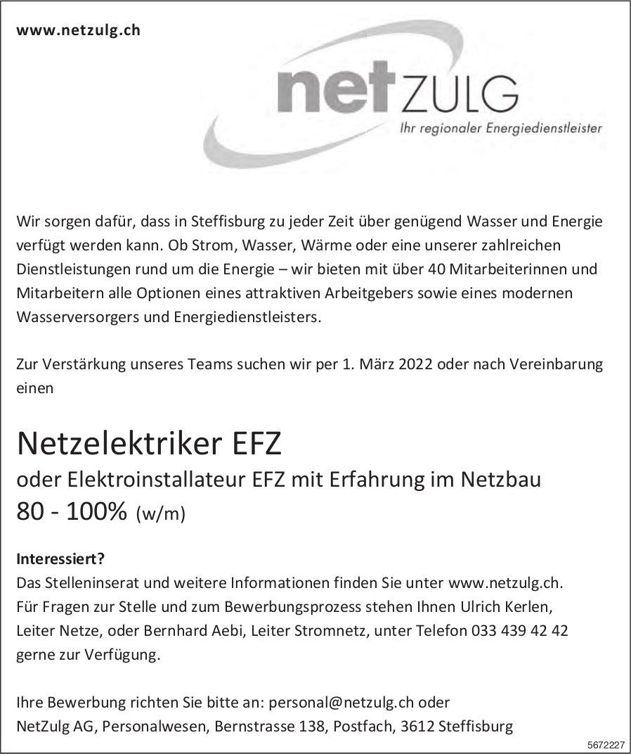 Netzelektriker EFZ oder Elektroinstallateur EFZ mit Erfahrung im Netzbau 80100% (w/m), NetZulg AG, Steffisburg, gesucht