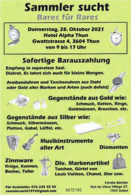 Sammler sucht Bares für Rares, 28. Oktober, Thun