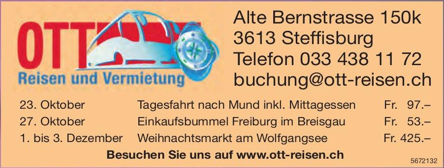 Reiseprogramm, 23. Oktober - 3. Dezember, Ott Reisen, Steffisburg