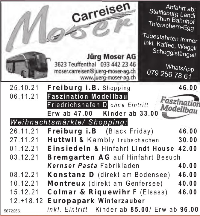 Reiseprogramm, 25. Oktober - 18. Dezember, Carreisen Jürg Moser AG, Teuffenthal