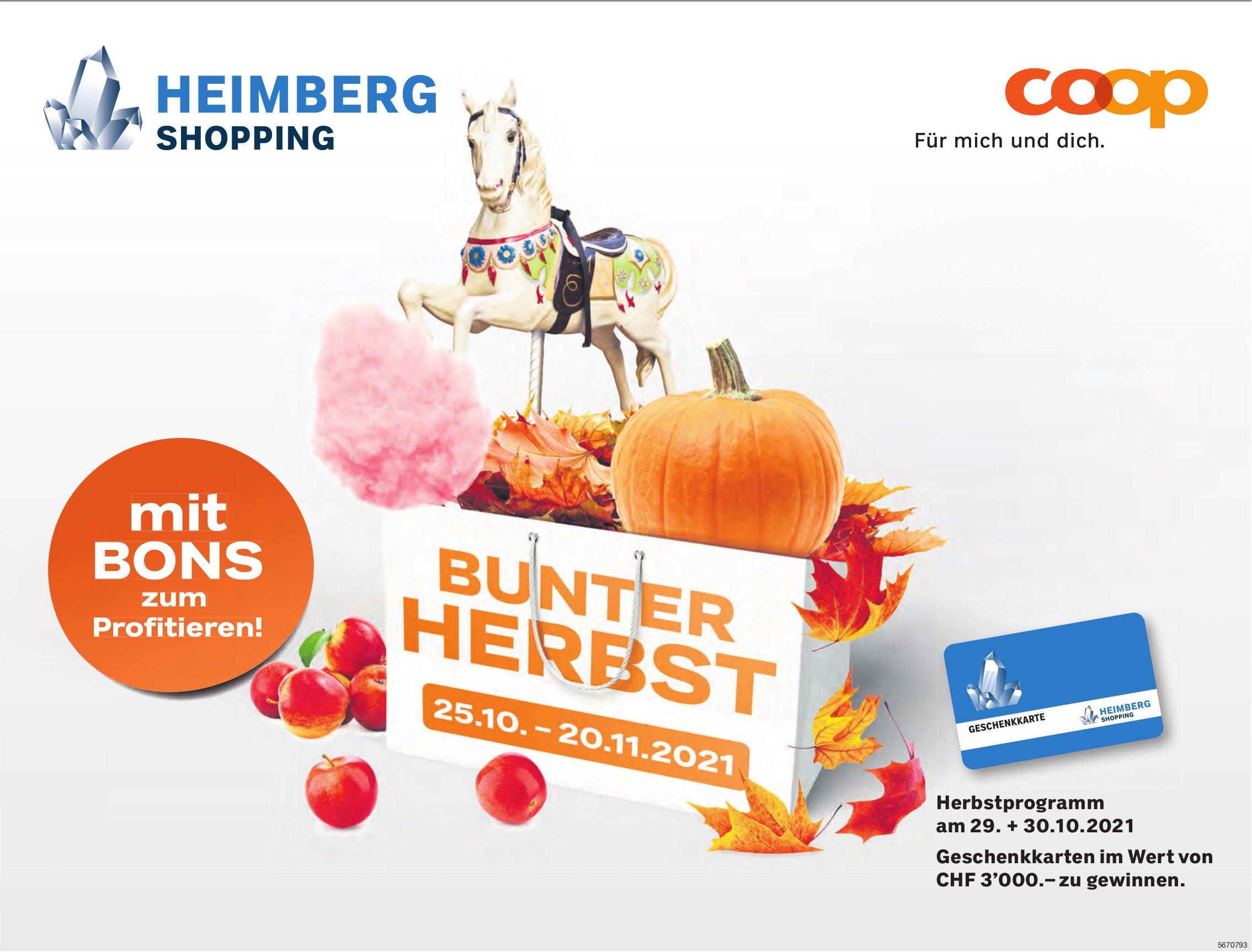 Bunter Herbst, 25. Oktober - 20. Novermber, Coop Heimberg Shopping