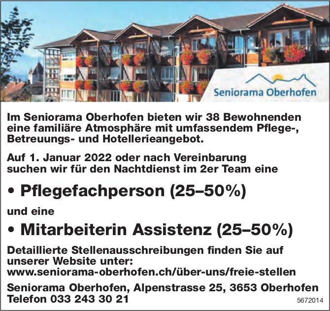 Pflegefachperson (25–50%) und eine Mitarbeiterin Assistenz (25–50%), Seniorama Oberhofen, gesucht
