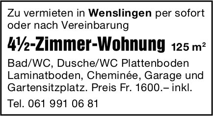 4.5 Zimmer-Wohnung, Wenslingen, zu vermieten