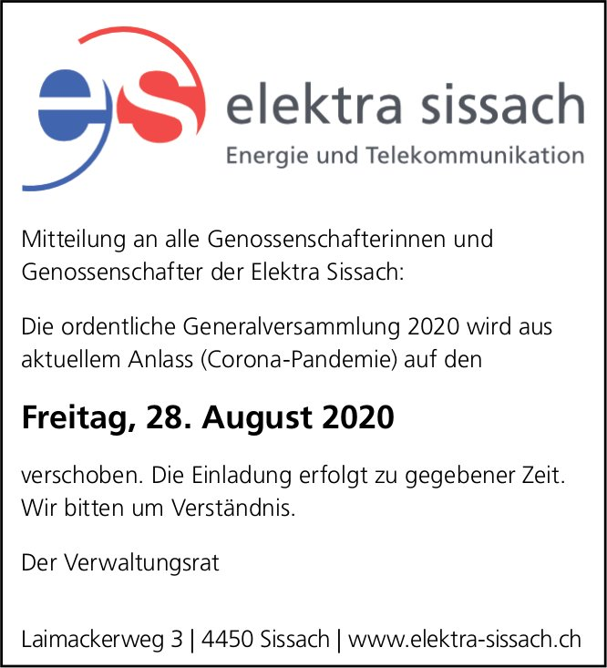 Elektra Sissach - GV verschoben auf August
