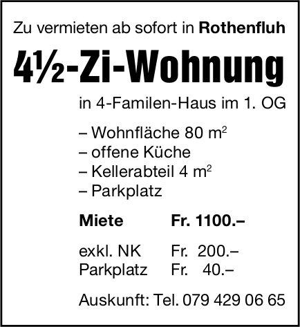 4.5 Zimmer-Wohnung, Rothenfluh,  zu vermieten