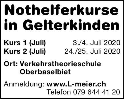 Nothelferkurse, 3./4. und 24./25. Juli, Verkehrstheorieschule Oberbaselbiet, Gelterkinden,