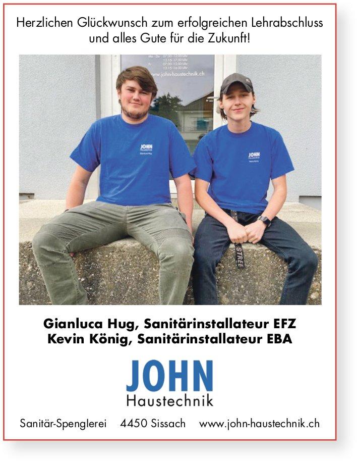 John Haustechnik, Sissach - Herzlichen Glückwunsch zur erfolgreichen LAP an Gianluca und Kevin
