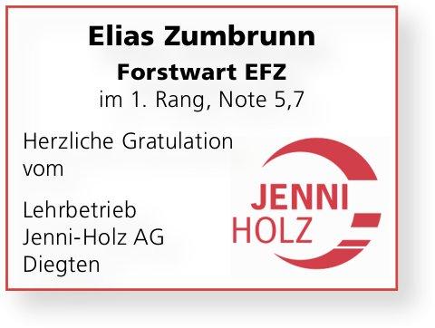 Jenni-Holz AG, Diegten - Elias Zumbrunn herzliche Gratulation zur LAP