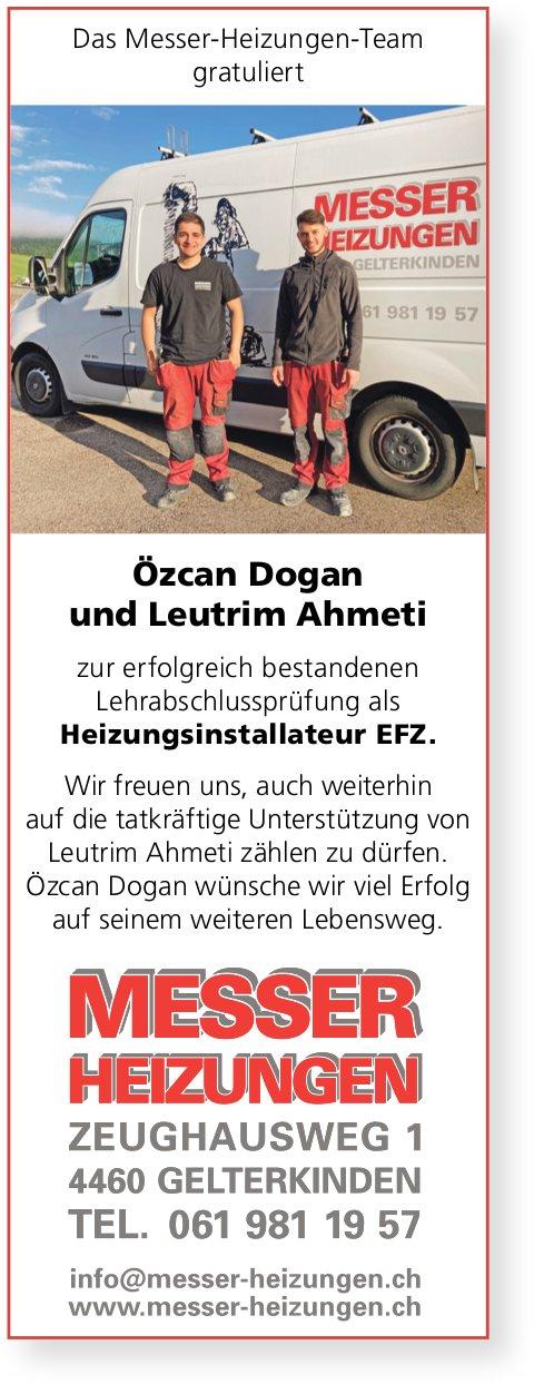 Das Messer-Heizungen-Team gratuliert Özcan Dogan und Leutrim Ahmeti zur bestandenen LAP