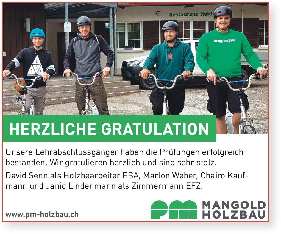 Mangold Holzbau, Herzliche Gratulation an David,  Marlon,  Chairo und Janic zur bestandenen LAP