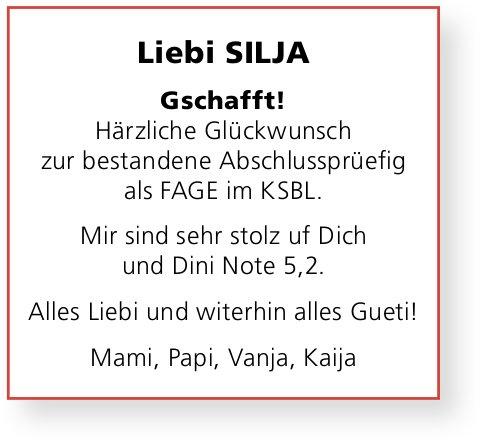 Liebi Silja Härzliche Glückwunsch zur bestandene LAP