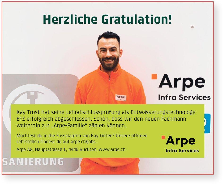 Arpe AG, Buckten - Herzliche Gratulation an Kay Trost zur bestandenen LAP