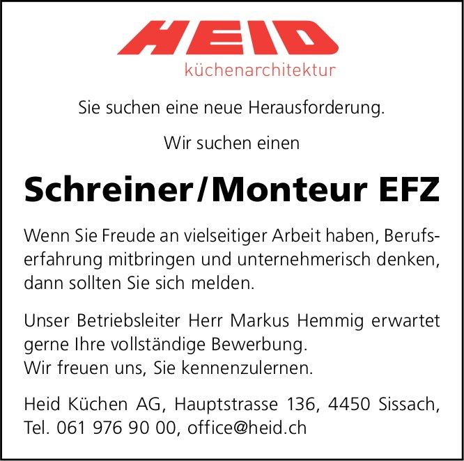 Schreiner / Monteur EFZ, Heid Küchen AG, Sissach,  gesucht