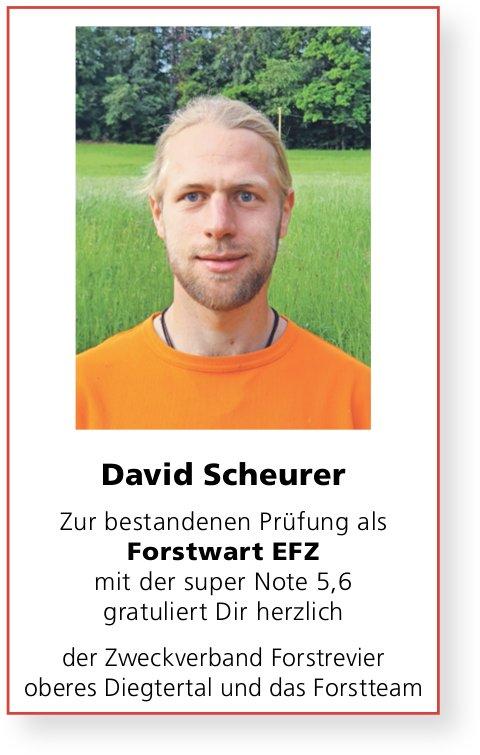 Zweckverband Forstrevier ob. Diegtertal, Wir gratulieren David Scheurer zur bestandenen LAP