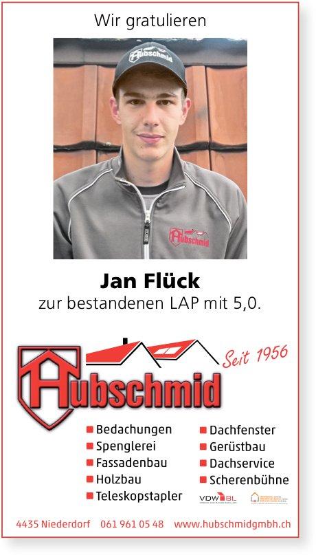 Hubschmid GmbH, Niederdorf - Wir gratulieren Jan Flück zur bestandenen LAP