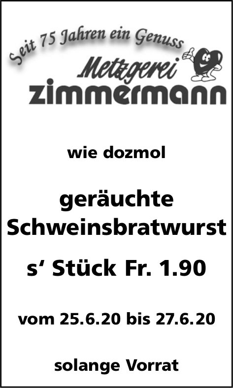 Metzgerei Zimmermann - Geräuchte Schweinsbratwurst im Angebot