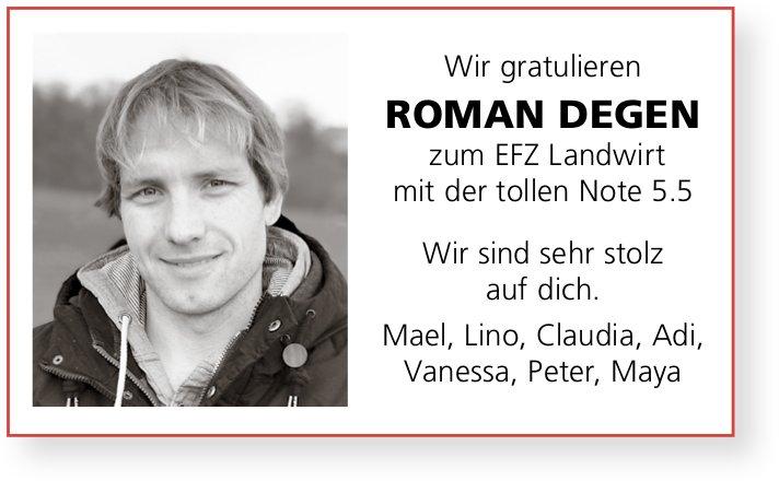 Wir gratulieren Roman Degen zum Efz Landwirt mit der tollen Note 5.5