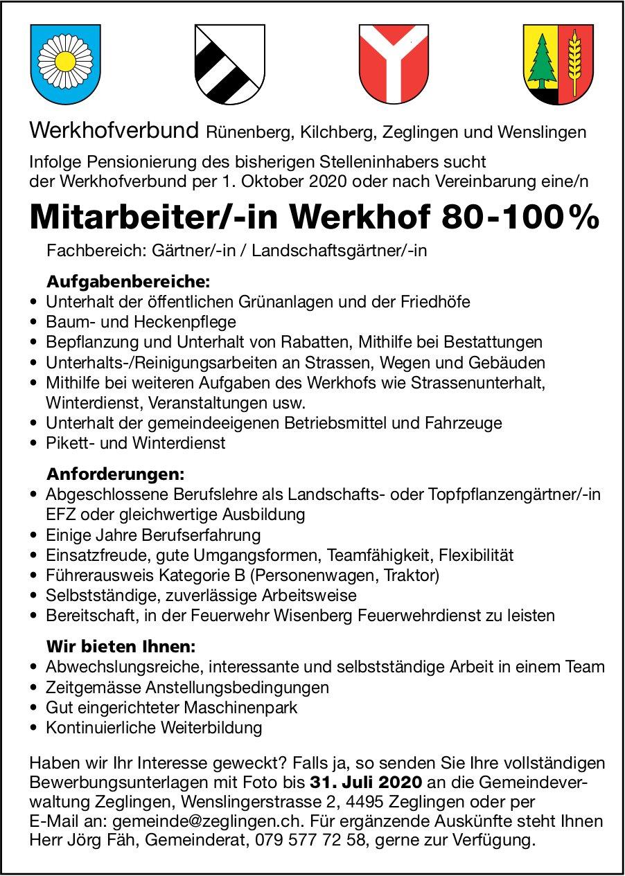 Mitarbeiter/-in Werkhof, Werkhofverbund, Zeglingen,  Gesucht