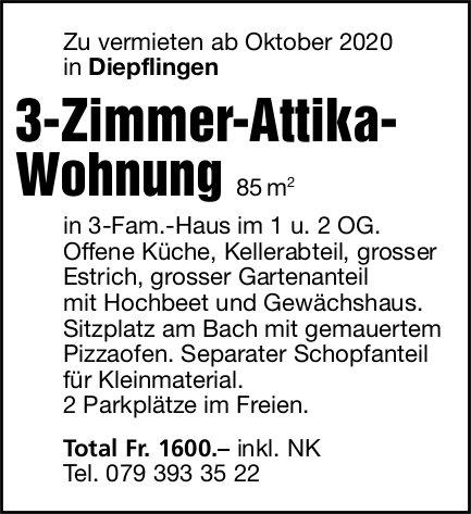3-Zimmer-Attika-Wohnung 85 m2, Diepflingen,  zu vermieten