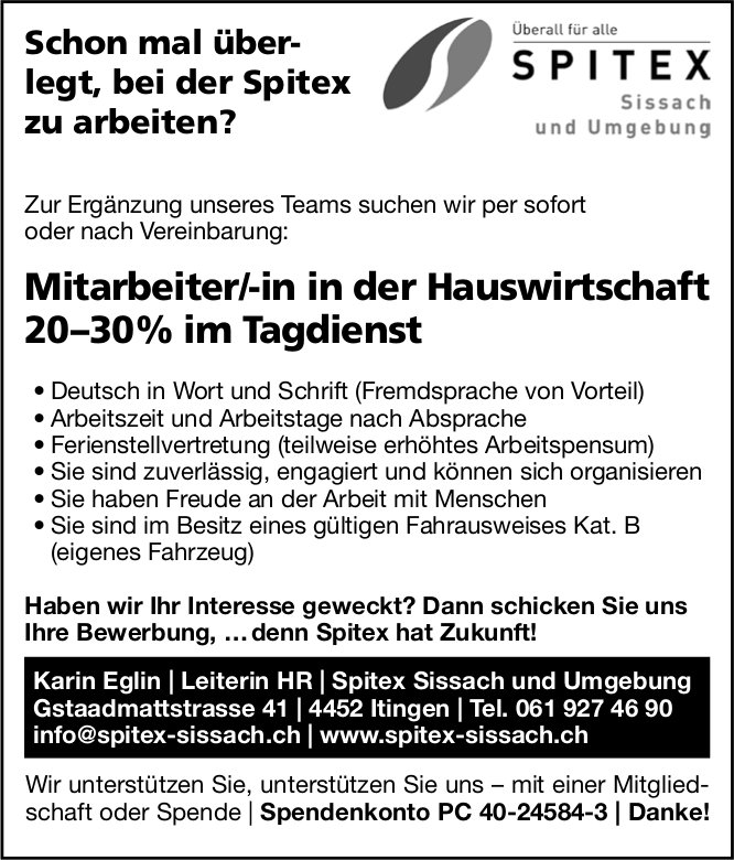 Mitarbeiter/-in in der Hauswirtschaft, Spitex Sissach und Umgebung, Itingen,  gesucht