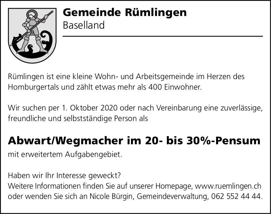 Abwart/Wegmacher, Gemeinde, Rümlingen,  gesucht