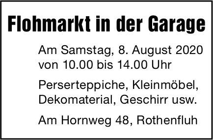 Flohmarkt in der Garage, 8. August, Hornweg 48, Rothenfluh