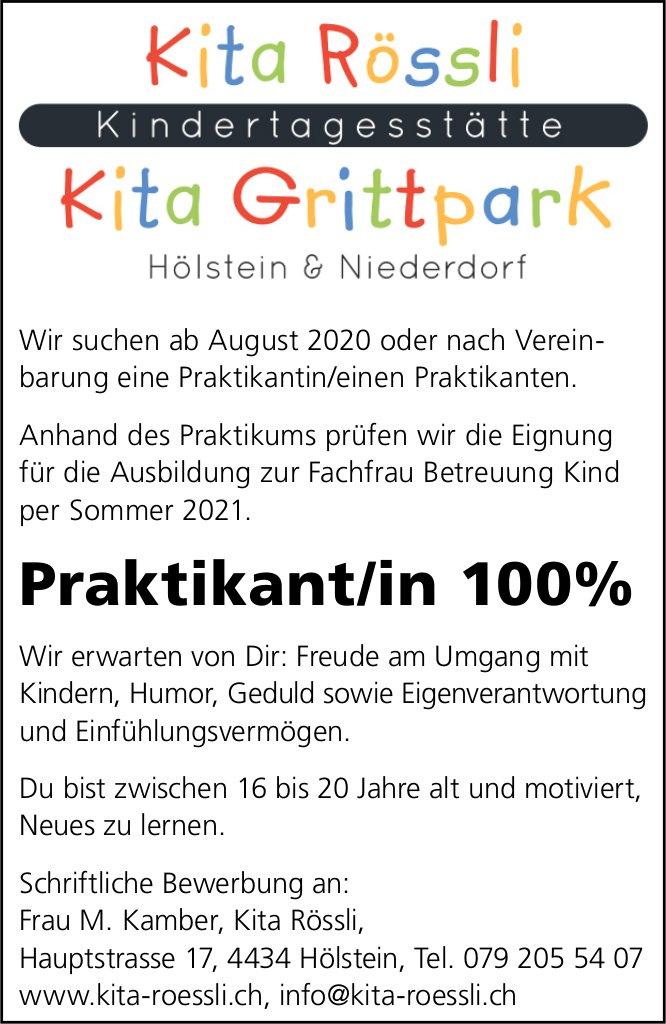Praktikant/in, Kita Rössli und Kita Grittpark, Hölstein und Niederdorf,  gesucht