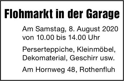 Flohmarkt in der Garage, 8. August, Hornweg 48, Rothenfluh,