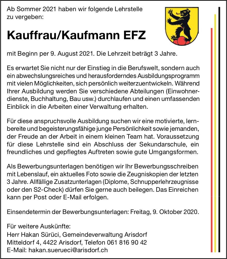 Lehrstelle als Kauffrau/Kaufmann EFZ, Gemeinde,  Arisdorf,  zu vergeben