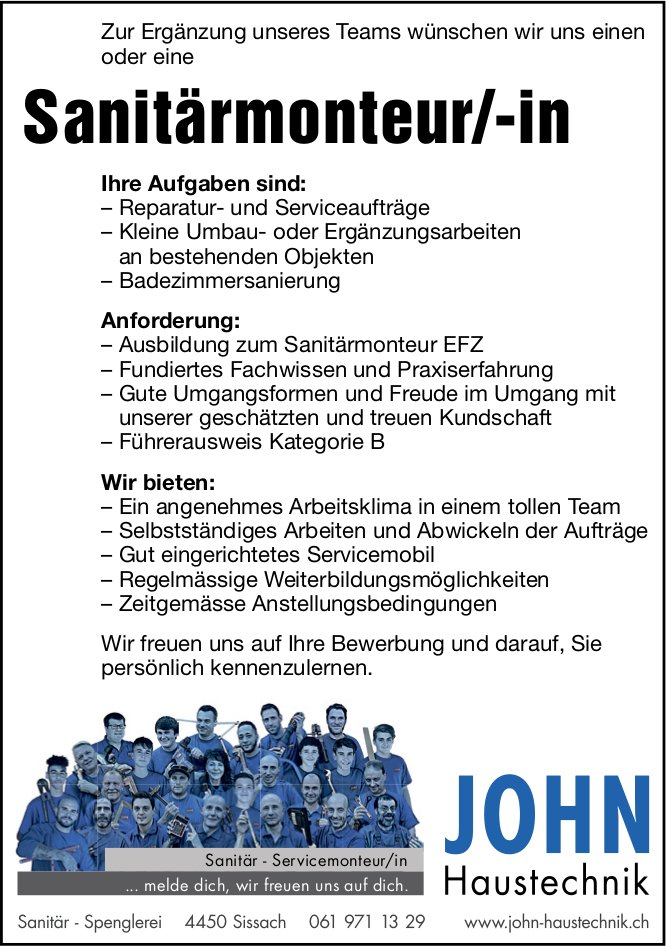 Sanitärmonteur/-in, John Haustechnik,  Sissach ,  gesucht