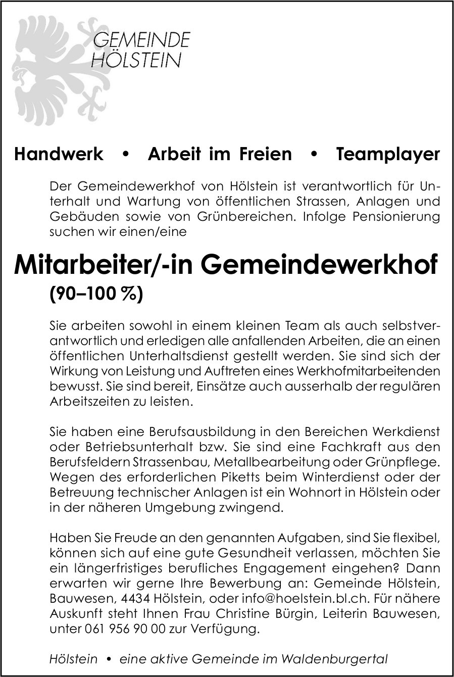 Mitarbeiter/-in Gemeindewerkhof, Gemeinde, Hölstein,  gesucht