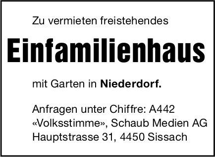 Einfamilienhaus, Niederdorf,  zu vermieten