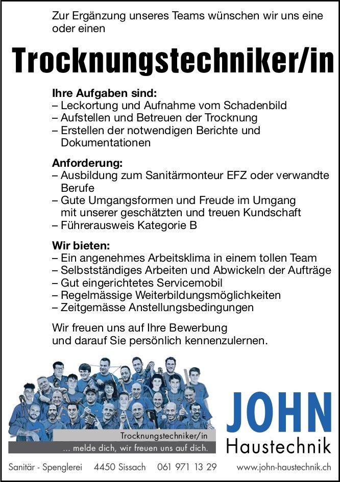 Trocknungstechniker/in, John Haustechnik, Sissach,  gesucht